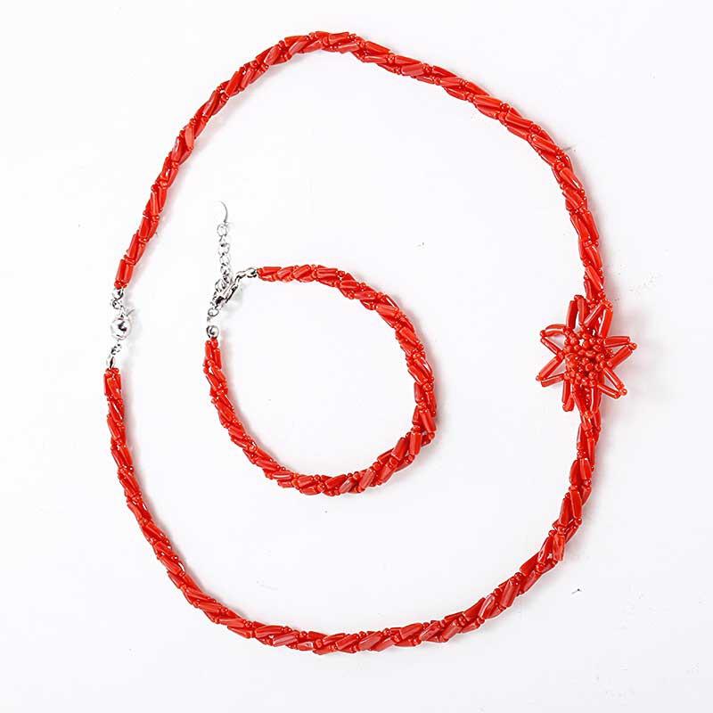 映时一款两戴红珊瑚项链手链套组