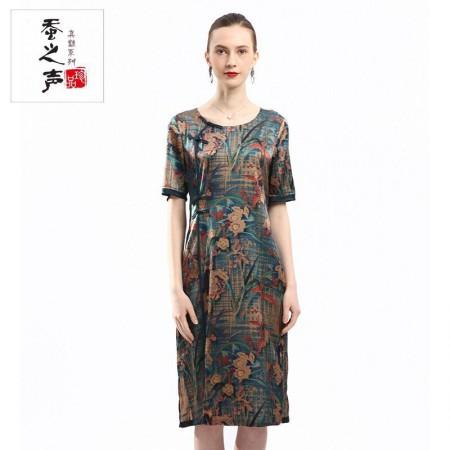 蚕之声 盘扣中国风桑蚕丝旗袍款中长裙86031·花色