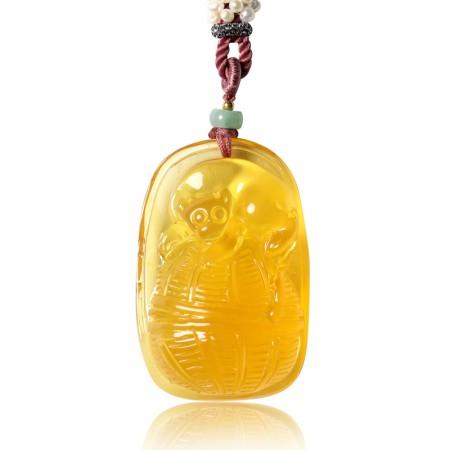 曼丽翠琥珀金猴送福项链