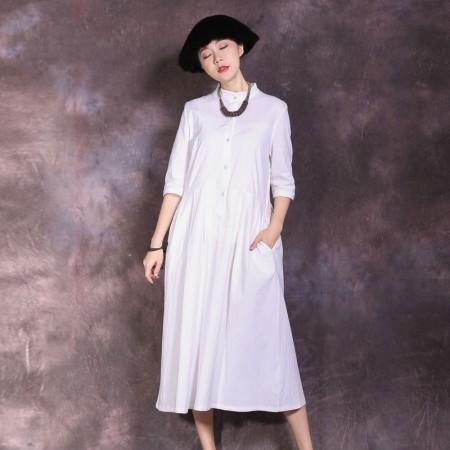 絮笈 立领五分袖高腰纯色百褶连衣裙·白色