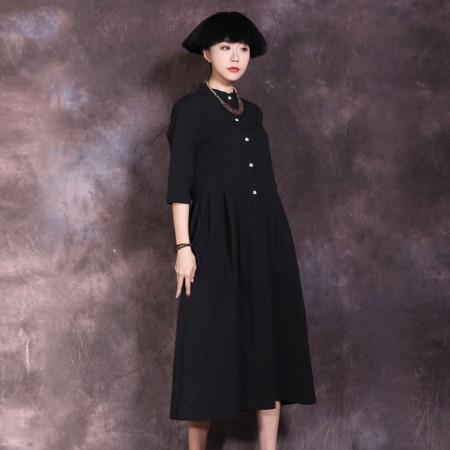 絮笈 立领五分袖高腰纯色百褶连衣裙·黑色