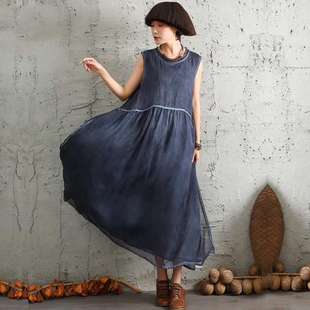 絮笈 圆领无袖炒色宽松连衣裙·蓝色