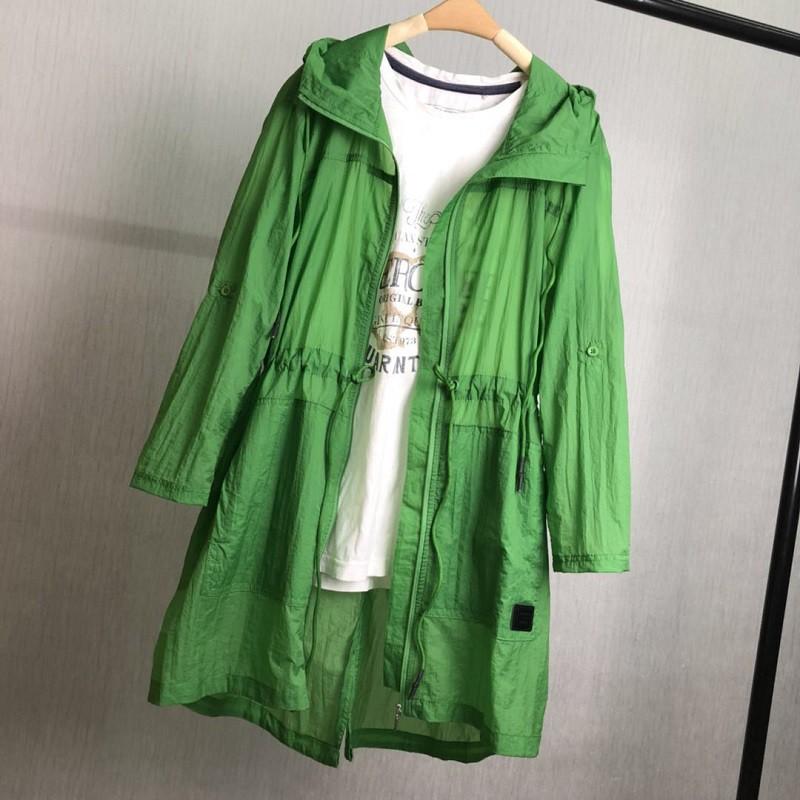 夏日连帽收腰中长款防晒衣 (200斤可穿)7色多功能外套·绿色