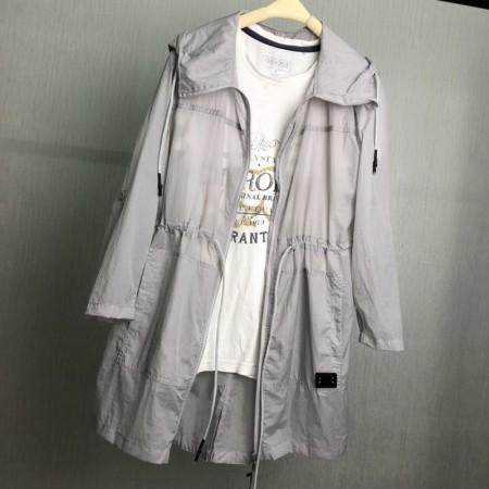 夏日连帽收腰中长款防晒衣 (200斤可穿)7色多功能外套·灰色