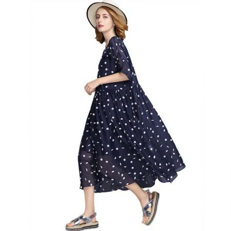 丁摩 A字裙宽松显瘦娃娃款小菊花两件套连衣裙·藏蓝色