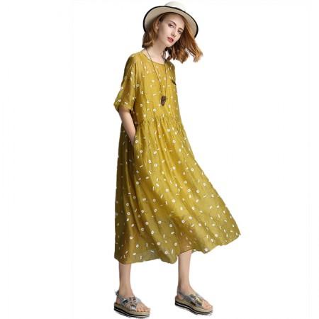 丁摩 A字裙宽松显瘦娃娃款小菊花两件套连衣裙·芥绿色