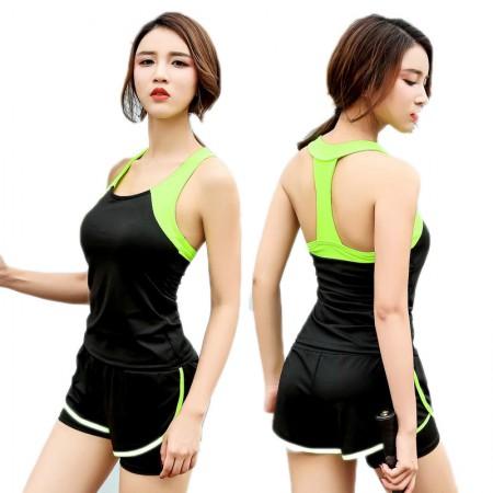 夢倪撻高弹力舒适无痕一体式运动背心2件组·玫红+荧光绿