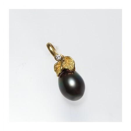 Vermeer 18K金+钻石大水滴形大溪地黑珍珠设计款吊坠(编号0385)·黑
