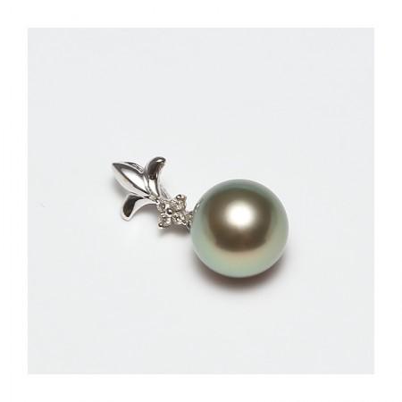 Vermeer 18K白金+钻石大溪地海水珍珠吊坠9-10mm(编号1835)·