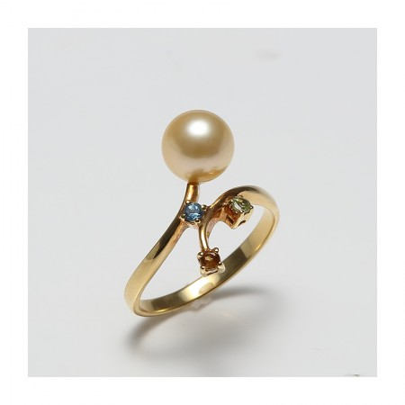 Vermeer 18K黄金日本AKOYA海水珍珠戒指7mm(编号2974)·金色