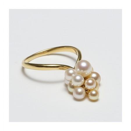 Vermeer 18K金日本AKOYA海水珍珠多珠戒指3-5mm(编号5141)