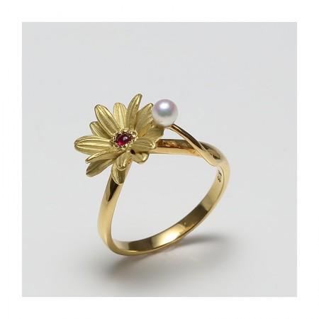 Vermeer 18K黄金日本AKOYA海水珍珠戒指3mm(编号0050)·白色