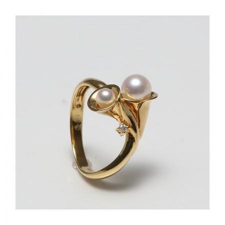 Vermeer 18K黄金+钻石AKOYA海水珍珠戒指3-6mm(编号0259)