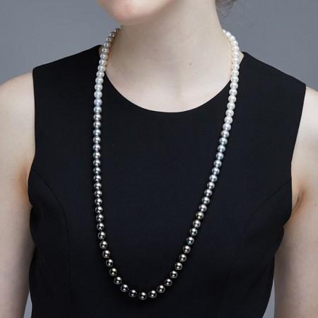 Vermeer S925银日本AKOYA珍珠大溪地珍珠长款项链8-10mm·白色