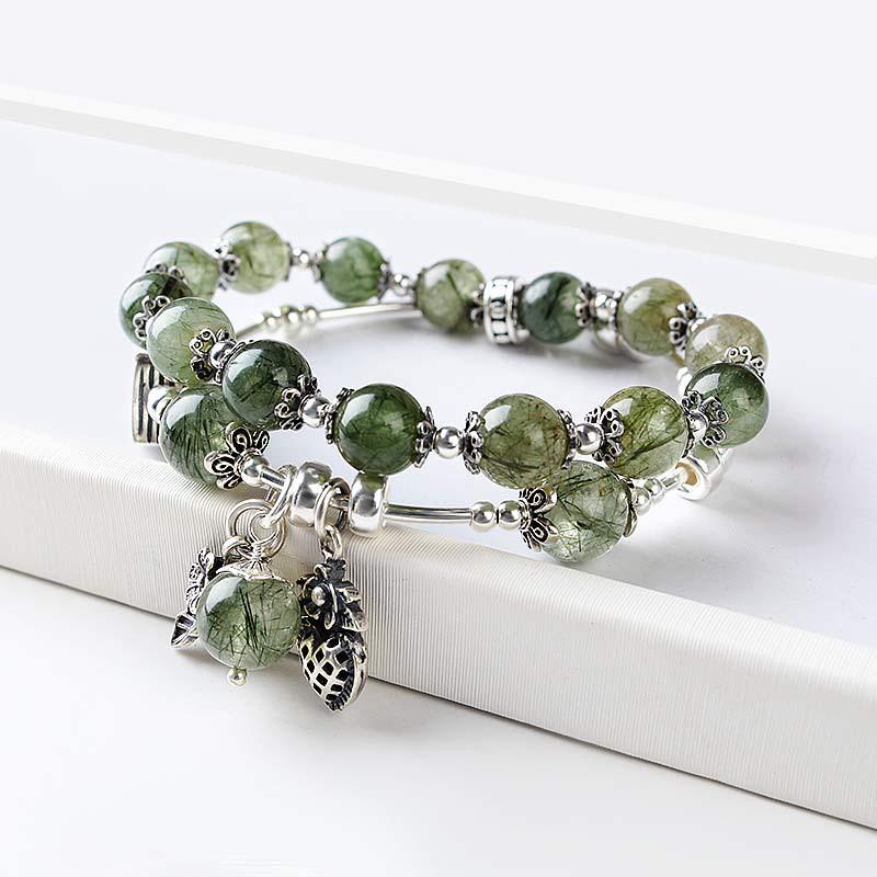 珠来珠往多层复古绿发晶圆珠手串