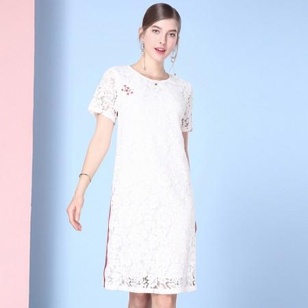 欧力丝简约时尚修身个性中长款连衣裙·白色