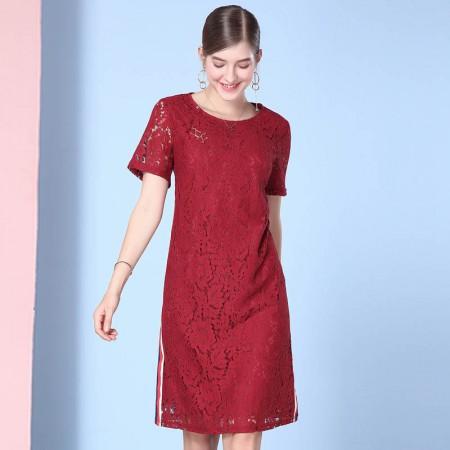 欧力丝简约时尚修身个性中长款连衣裙颜色·酒红色