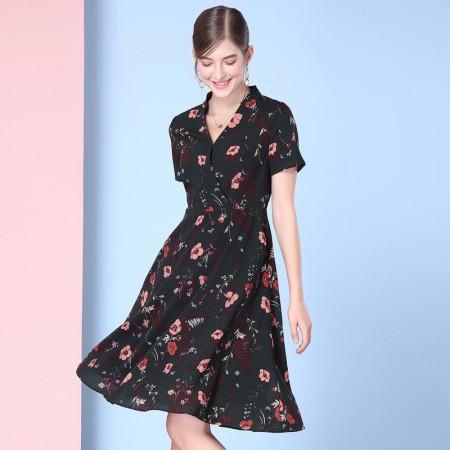 欧力丝优雅时尚修身显瘦气质连衣裙·绿/多色