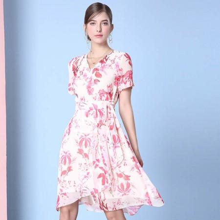 欧力丝浪漫女人修身显瘦气质连衣裙·粉/多色