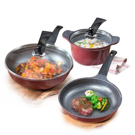 韩库 韩国进口麦饭石无烟不粘炒锅煎锅汤锅套组红钻系列