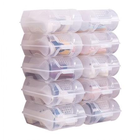 宝优妮加厚鞋盒收纳透明家用整理盒DQ9123-1透明10只装