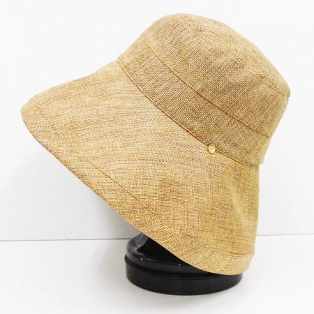 出口日本原单棉麻简约防晒渔夫大沿帽·米黄色