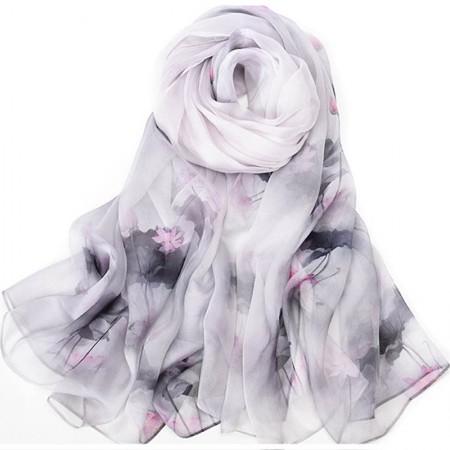 丁摩 桑蚕丝围巾真丝围巾沙滩巾真丝披肩W014·墨·荷