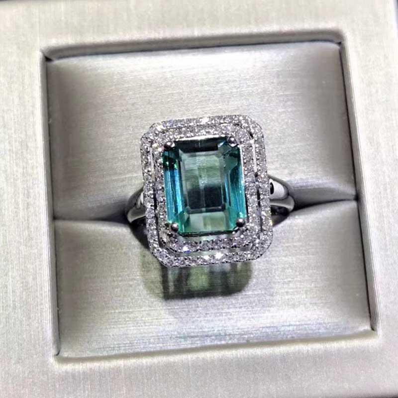 【孤品】希有18K金3克拉蓝绿碧玺戒指