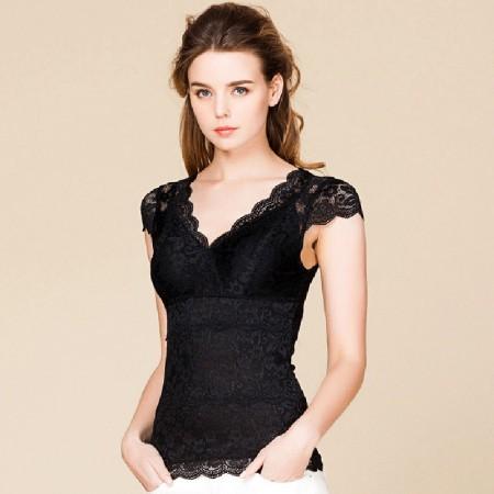 适语 真丝蕾丝塑形美体衣短袖·黑色