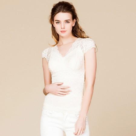 适语 真丝蕾丝塑形美体衣短袖·肤色