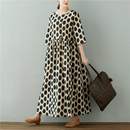 素锦 原创纯棉大圆点褶皱连衣裙·米色黑底