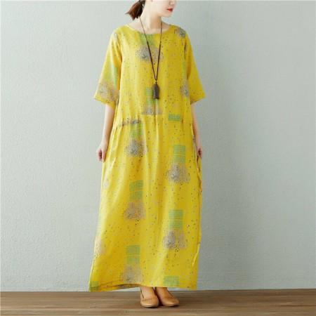 素锦 原创纯苎麻文艺抽象印花抽绳连衣裙·黄色