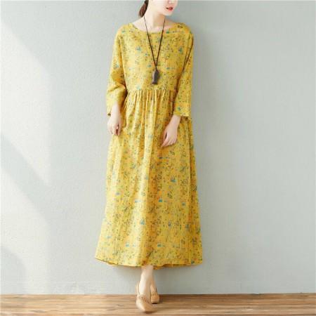 素锦 原创夏季新品苎麻碎花百褶宽松长裙·黄色
