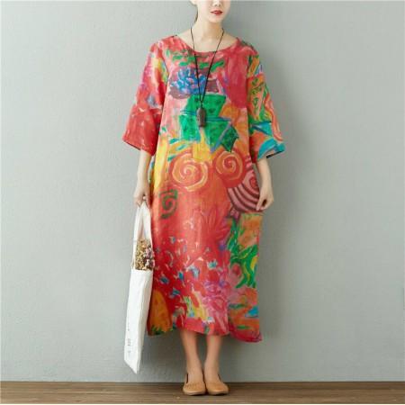 夏季新款 波西米亚风高端苎麻印花宽松显瘦直筒连衣裙·红色