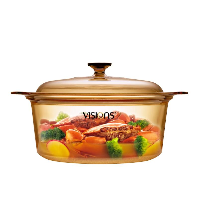 美国康宁(VISIONS)5L汤锅直径26CM晶彩透明锅
