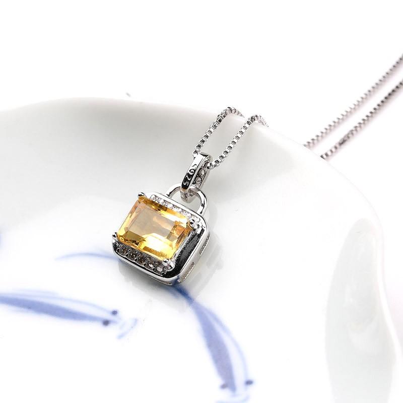 老冯记S925黄水晶方形925银银镶套装火彩好