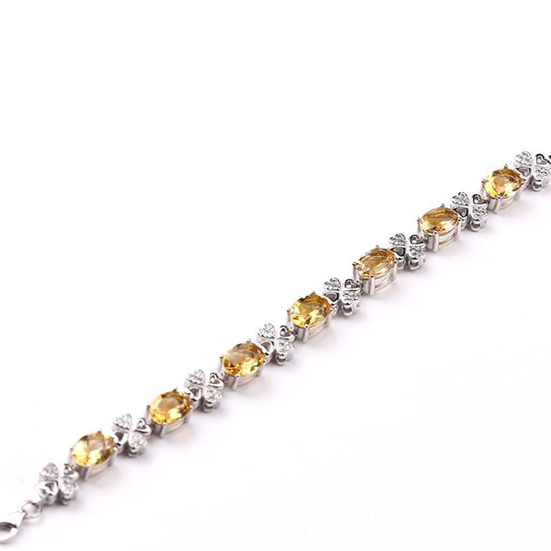 老冯记S925黄水晶925银镶豪华手链