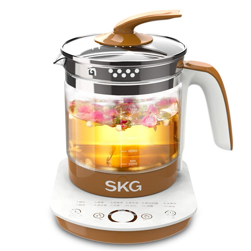 SKG 电水壶玻璃304不锈钢发热盘玻璃电热水壶保温烧水壶煮花茶器 8056·8056