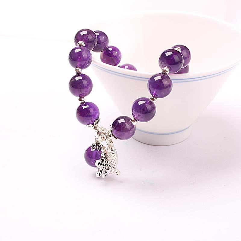 卓凡时尚紫晶年年有余手串