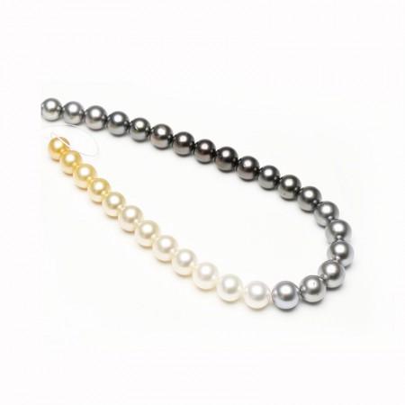 Vermeer 渐变黑白南洋金白大溪地海水珍珠整串9-10mm·珍珠颜色:黑白金