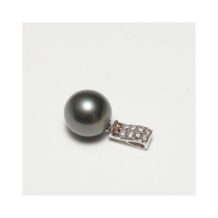 Vermeer 18K金+钻石大溪地黑珍珠吊坠13.5mm(编号1333)·黑色