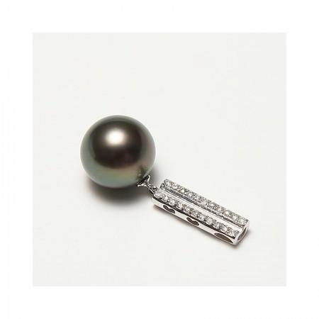 Vermeer 18K金+钻石大溪地黑珍珠吊坠11-12mm(编号1767)·黑
