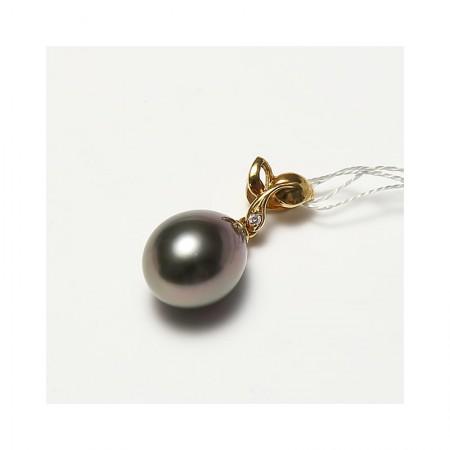 Vermeer 18K金+钻石椭圆大溪地黑珍珠吊坠11-12mm(编号0818)