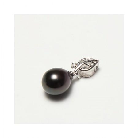 Vermeer 18K金+钻石水滴形大溪地黑珍珠吊坠10mm(编号0815)·黑
