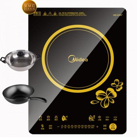 Midea/美的 大面板触摸屏超薄电磁炉RT2166赠炒锅汤锅