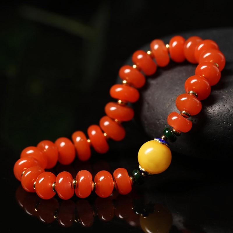 玉真了樱桃红南红玛瑙算盘珠手链