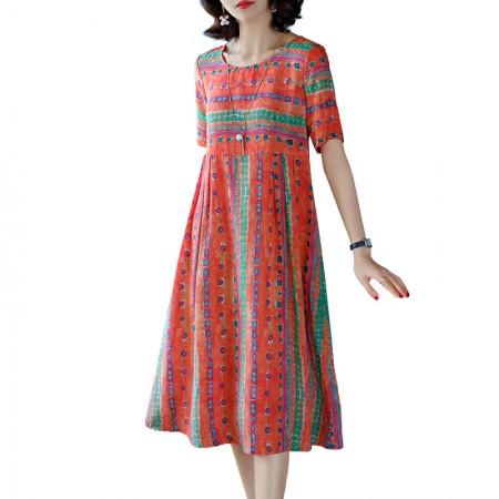 丁摩 宽松显瘦印花双绉真丝连衣裙桑蚕丝中长款·红色