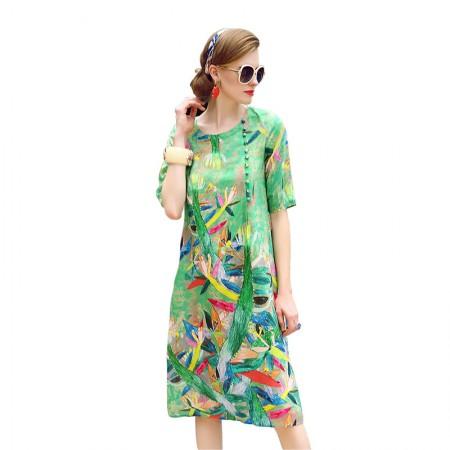 丁摩 高端真丝绿色清凉时尚印花显瘦宽松连衣裙·绿色