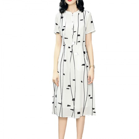 丁摩 时尚气质白色冷淡风真丝连衣裙·白色