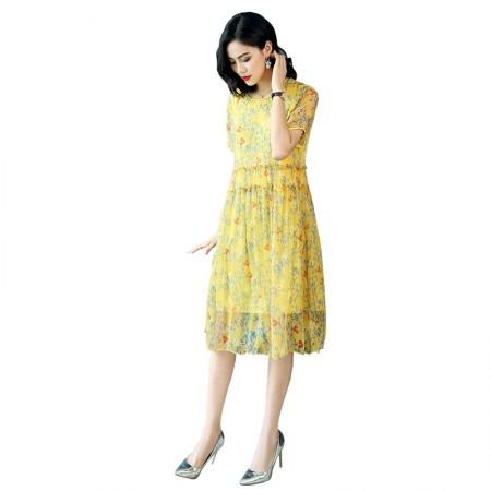 丁摩 桑蚕丝宽松飘逸碎花中长款连衣裙·黄色印花
